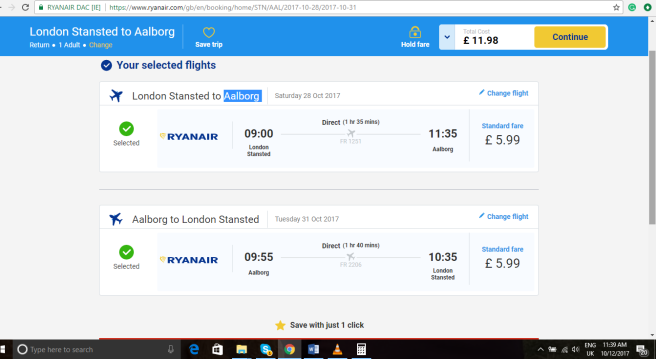 London to Aalborg 11.98