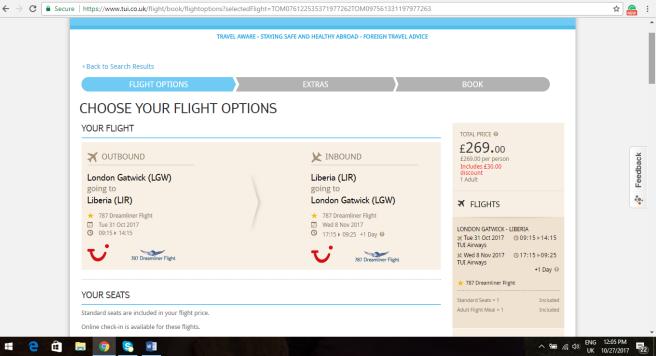 London to Costa Rica 269.00