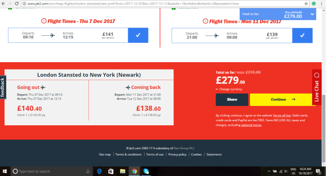 London to New York 279.00