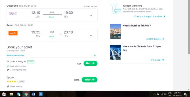 London to Tel Aviv 96.00