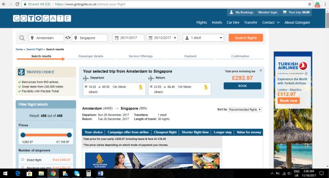 Amsterdam To Singapore 292.97