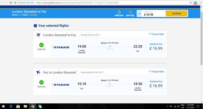 London to Fez 33.98