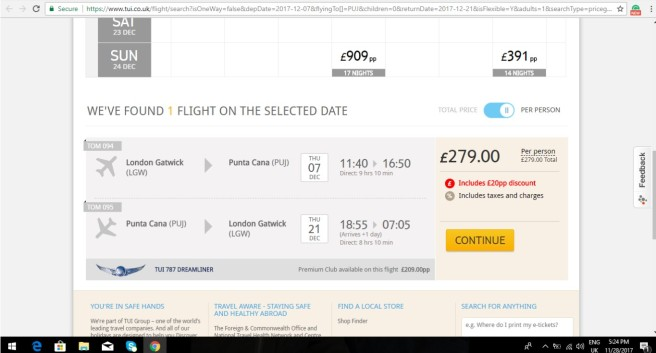 London to Punta Cana 279.00