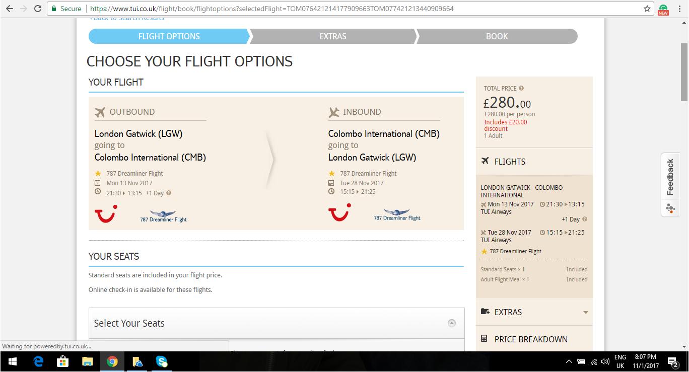London to Sri Lanka 280.00