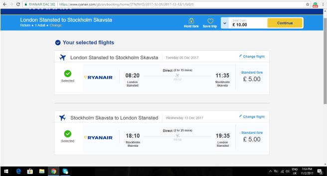 London to Stockholm 10.00
