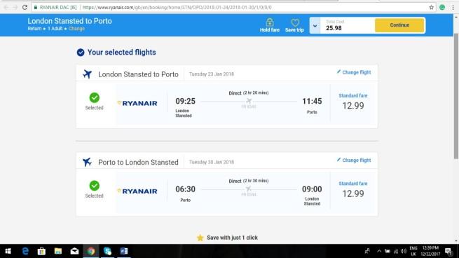 London to Porto 24.99