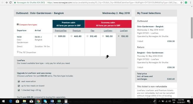Oslo to Bangkok 260.60