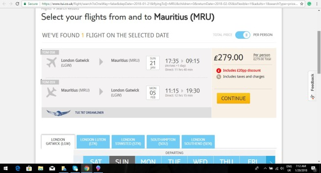London to Mauritius 279.00