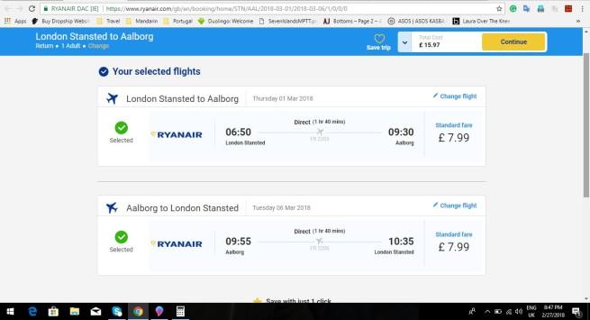 London to Aalborg 15.97