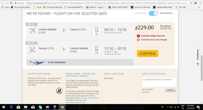London to Cancun 229.00 1