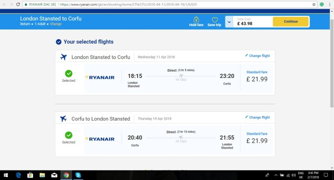London to Corfu 43.98
