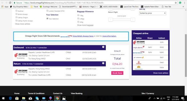 London to Hong Kong 314.20