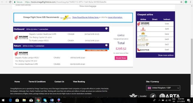 London to Kuala Lumpur 298.52