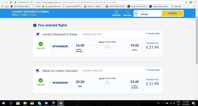 London to Rabat 43.98