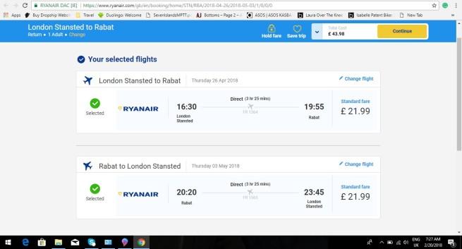 London to Rabat 43.98
