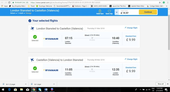 London to Valencia 19.97