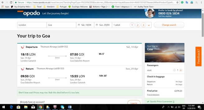 London to Goa 279.23