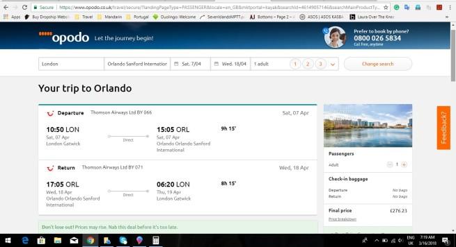 London to Orlando 276.23