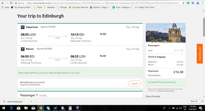 London to Edinburgh 16.48