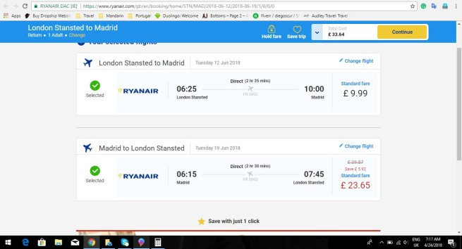 London to Madrid 33.64