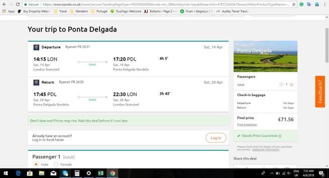 London to Ponta Delgada 71.56