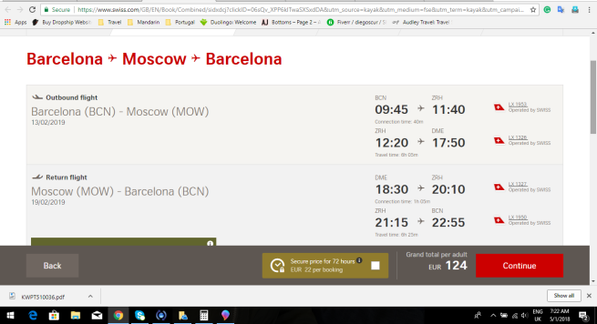 Barcelona to Moscow 124.00