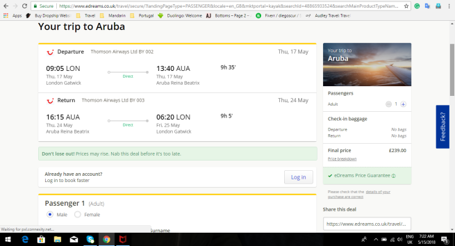 London to Aruba 239.00