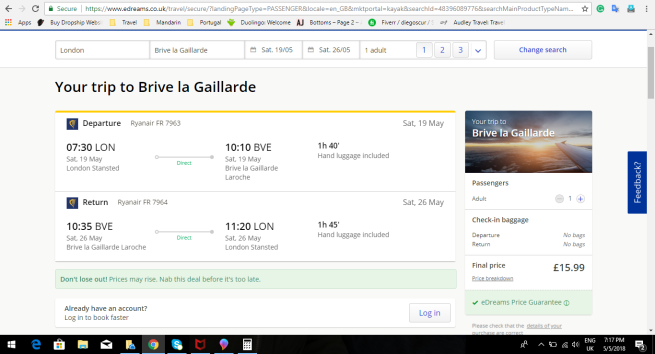 London to Brive la Gaillarde 15.99