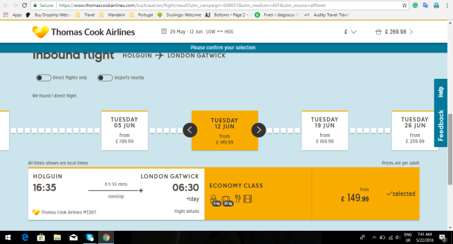 London to Holguin 269.98
