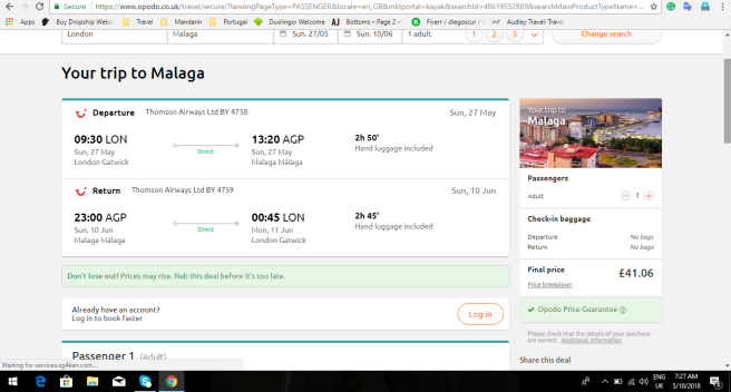 London to Malaga 41.06