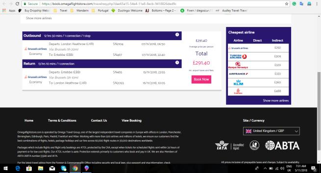 London to Uganda 291.40