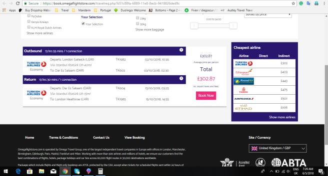 London to Dar es salaam Tanzania 303.00