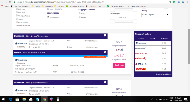 London to Lima 464.00