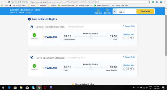 London to Porto 41.98