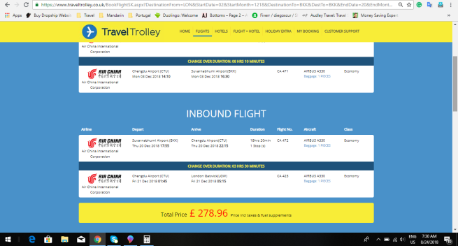 London to Bangkok 278.00