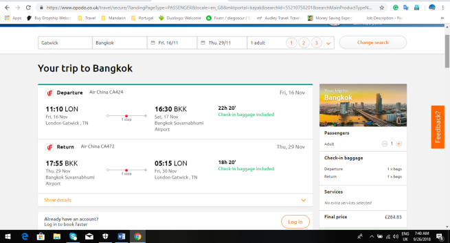 London to Bangkok 285.00