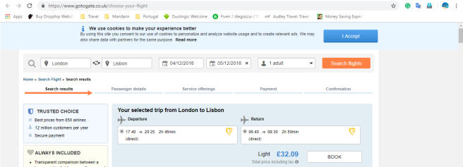 London to Lisbon 33.00
